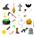 set of halloween objects isolated on white vector image