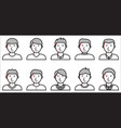 set of male icons on white background vector image vector image