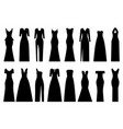 set of silhouettes of evening dresses vector image