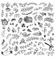 set vintage sketch elements vector image vector image