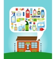 Shop with household chemicals vector image vector image
