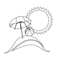 silhouette background beach with umbrella and ball vector image vector image