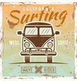 surfing bus colored vintage poster vector image vector image