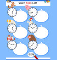 telling time educational task with farm animals vector image