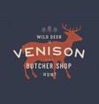 venison deer vintage logo retro print poster vector image vector image