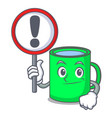 with sign mug character cartoon style vector image vector image