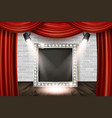 wooden stage with red curtain vector image vector image