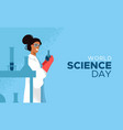 world science day card of scientist woman vector image vector image