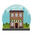 facade store building traditional street city vector image