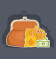 purse with cash business and finance symbols vector image