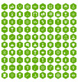 100 trophy and awards icons hexagon green vector image vector image