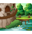 A beautiful scenery with a duck vector image vector image