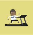 african businessman running on treadmill vector image vector image