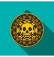 Aztec pirate gold coin icon flat style vector image vector image