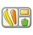 banana apple and carrot on tray icon cartoon vector image