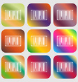 Barcode Icon Nine buttons with bright gradients vector image vector image
