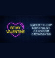 be my valentine text in heart shape with alphabet vector image