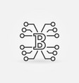 block chain technology concept icon in thin vector image vector image