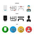 boiler plumber ventils and pipesplumbing set vector image vector image