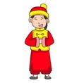 Character Of Girl Greeting Chinese New Year vector image