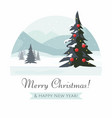 christmas tree and mountain winter landscape vector image vector image