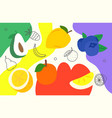creative doodle artistic wallpaper with fruits vector image