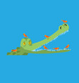 crocodile and bird little birds clean alligator vector image