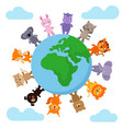 cute and funny baby animals walking around earth vector image vector image