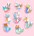 cute animals with fish mermaid tails 8 stickers vector image vector image