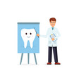 doctor pointing to image with smiling tooth vector image vector image