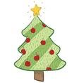 doodle christmas tree stylish vector image vector image