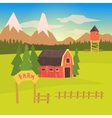 Farm And Surrounding Landscape Colorful Sticker vector image vector image