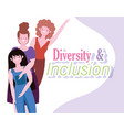 female women together diverse and inclusion vector image vector image