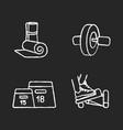 fitness equipment chalk white icons set on black vector image vector image