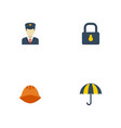 flat icons policeman padlock parasol and other vector image vector image
