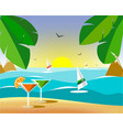 glasses with martinis on the sand vector image vector image