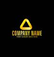 golden color triangle emblem with black background vector image vector image