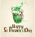 green beer and watercolor blots vector image vector image