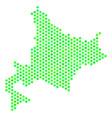 green hexagonal hokkaido island map vector image vector image