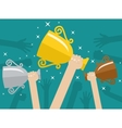 Hands holding trophies winner cups vector image