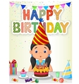 Happy girl blowing birthday candles vector image vector image