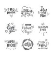 happy mothers day logos set isolated holiday vector image vector image