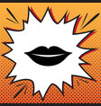 lips sign comics style icon vector image