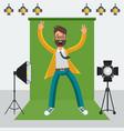 man in photo studio vector image vector image