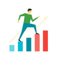 man running up on graph business motivation vector image