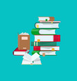 pile of books with colorful covers and bookmarks vector image