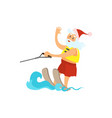 santa claus riding water skies red hat new year vector image