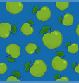 seamless pattern apple on blue background vector image
