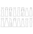 set of contours of evening dresses vector image vector image