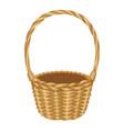 single handle wicker basket isolated vector image vector image